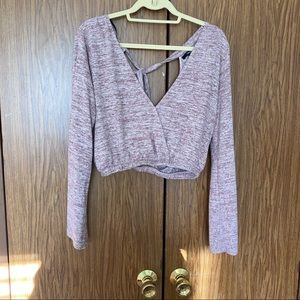 Soft Fleece Double V Cropped Top